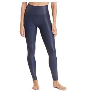 Spanks Faux Leather Leggings -Small - Navy Blue